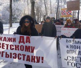 Қырғызстанда жүздеген адам конституцияны қорғау маршына шықты (видео)